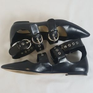 Zara Basic Collection black buckle straps flats 36